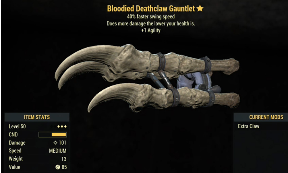 Bloodied Deathclaw Gauntlet- Level 50