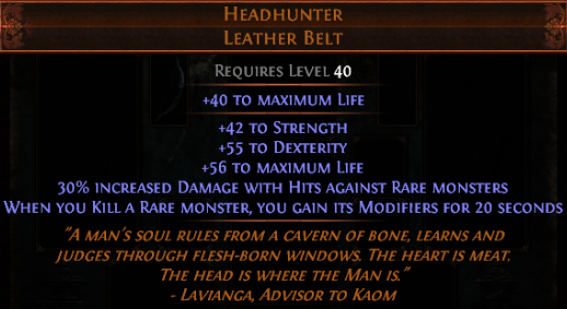 Headhunter - Leather Belt - Standard SC