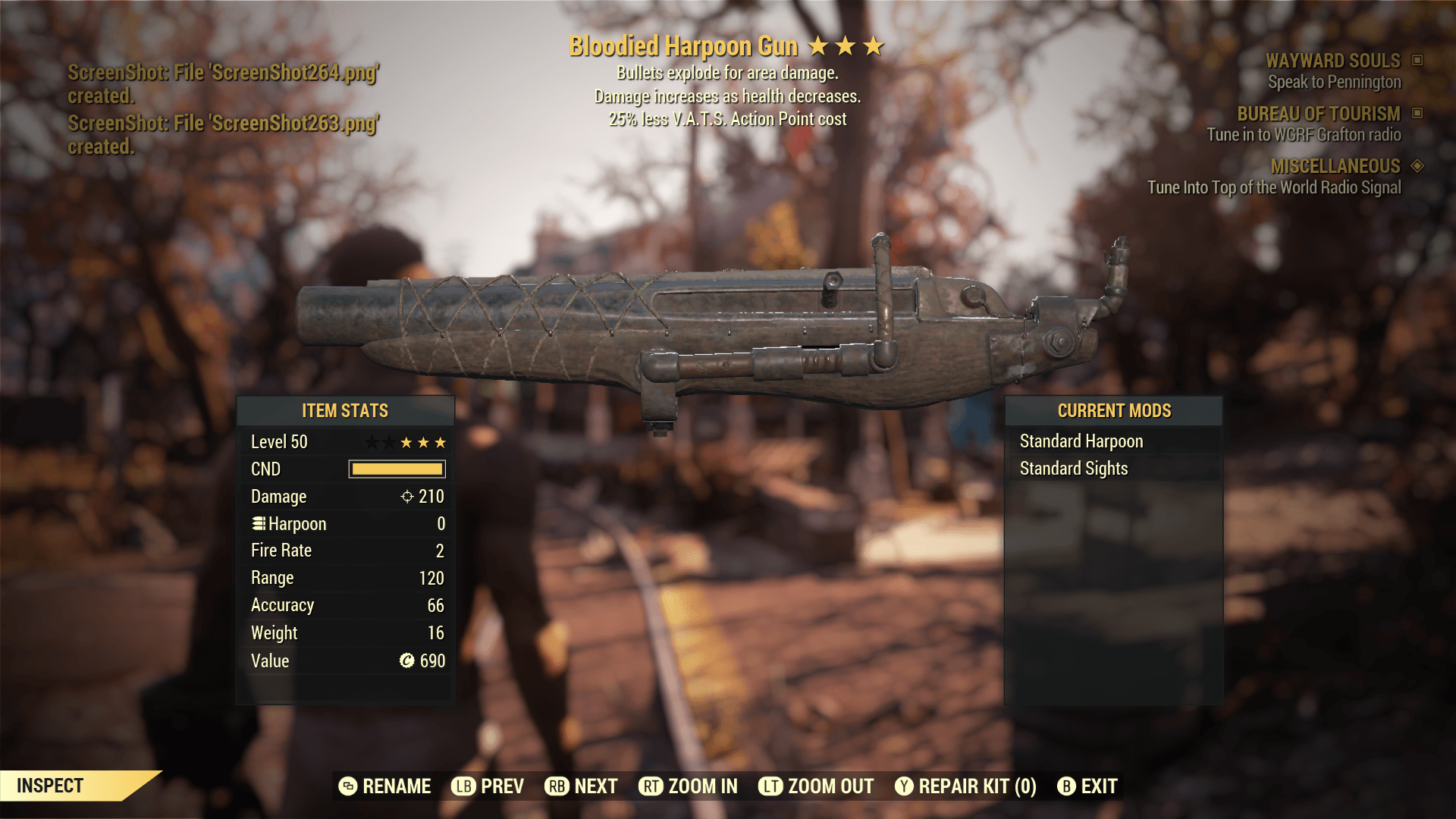 Bloodied Harpoon Gun[25% less V.A.T.S.Action Point cost]