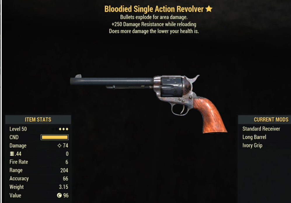 Bloodied Single Action Revolver- Level 50