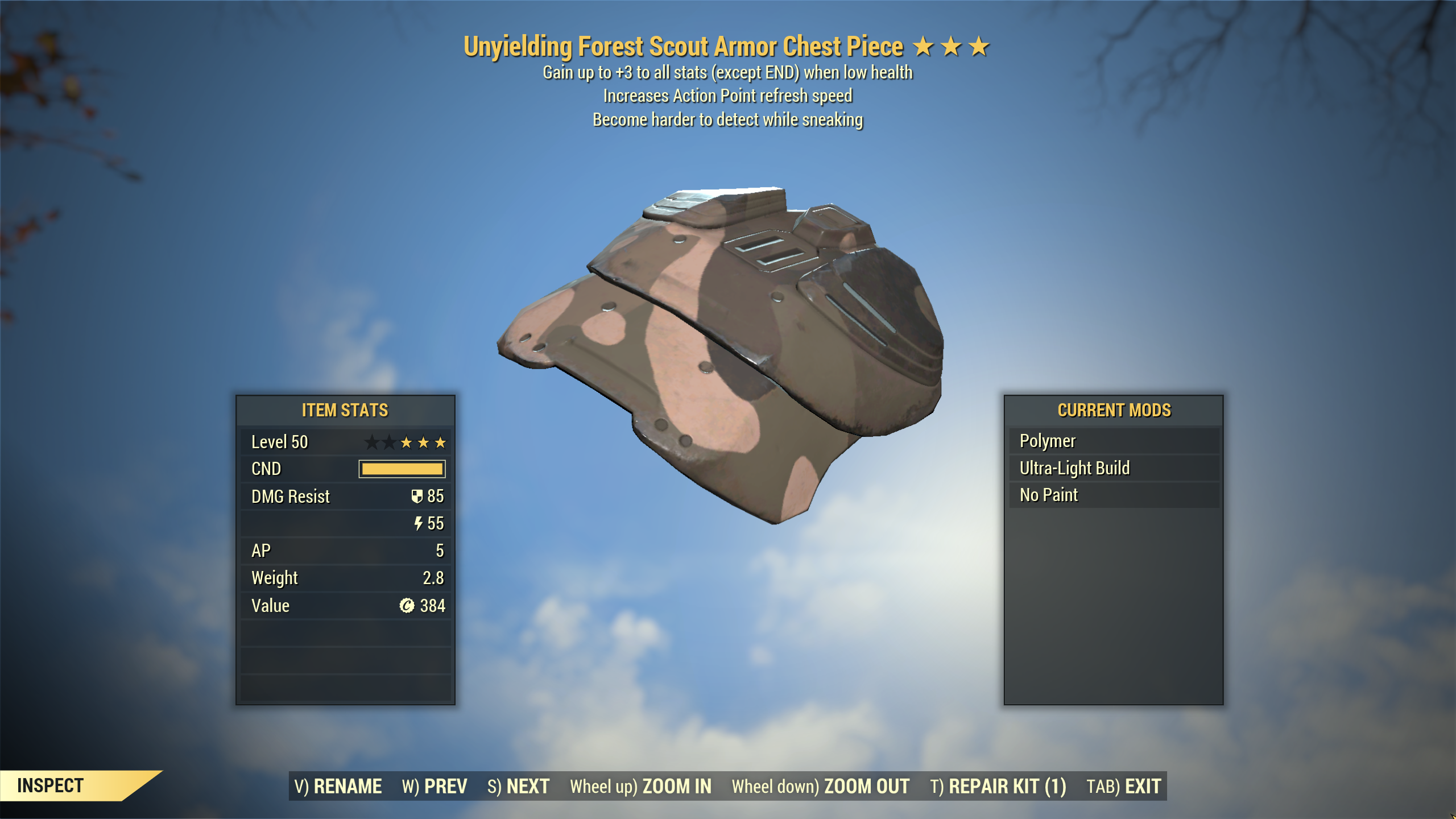 ★★★ Unyielding Sneak Scout Armor SET[5/5 AP Refresh][Forest] | FULLY MODIFIED FAST DELIVERY |