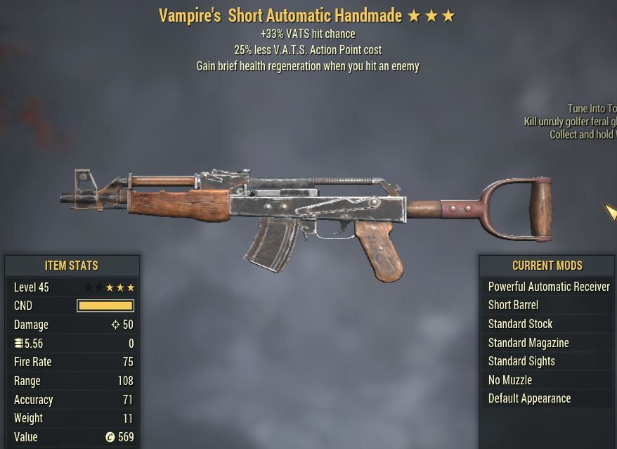 [PC] Vampire's Handmade [33% VATS hit chance   25% Less Vats AP]