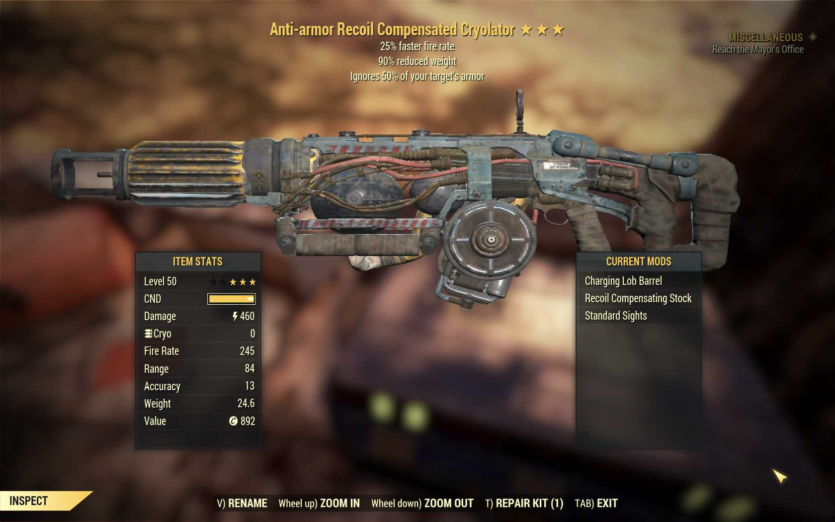 [Glitched weapon] Anti-Armor Cryolator-Tesla (25% faster fire rate, 90% reduced weight)