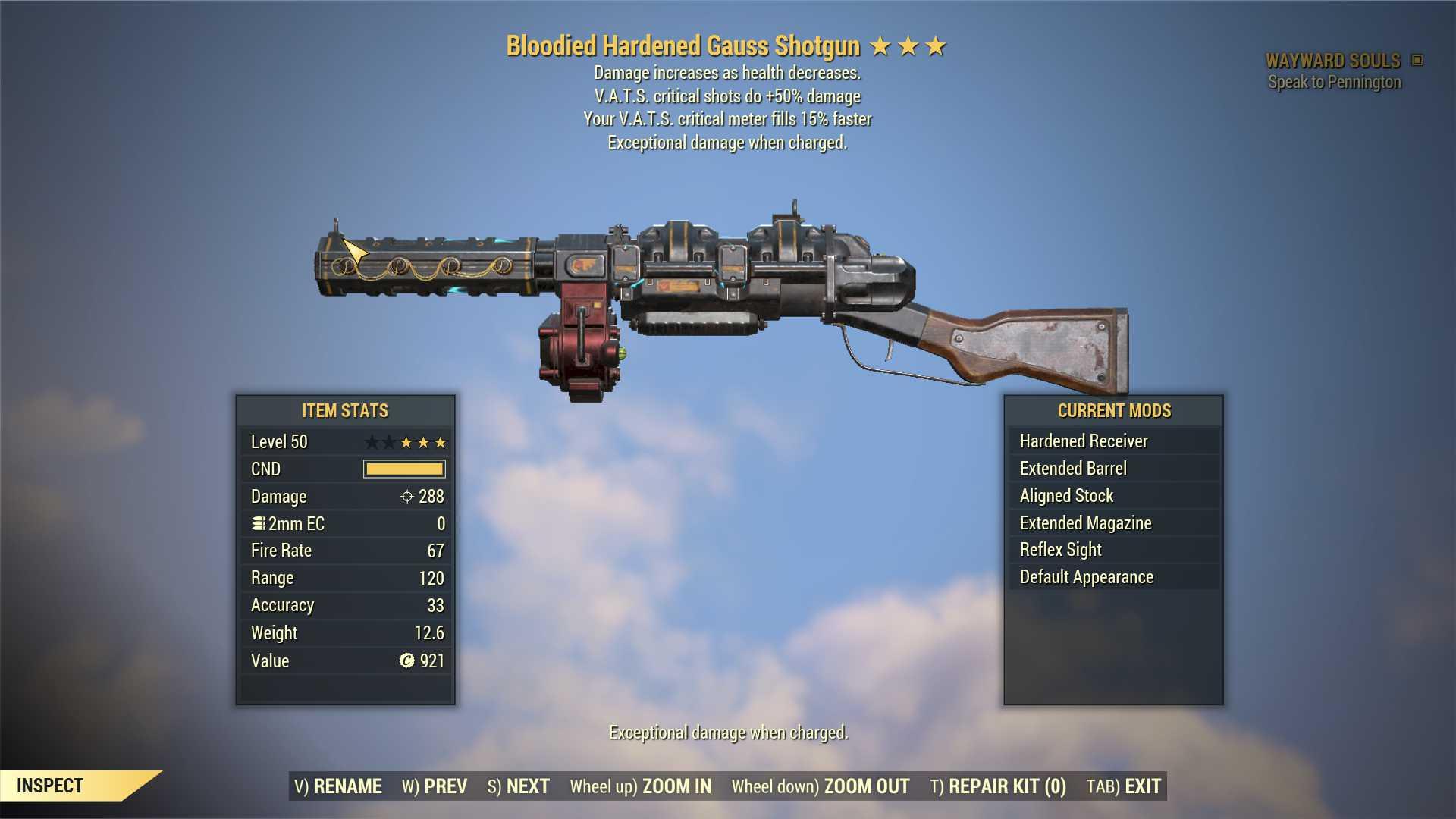 Bloodied Gauss Shotgun (+50% critical damage, VATS crit fills 15% faster) FULL MODDED [Wastelanders]