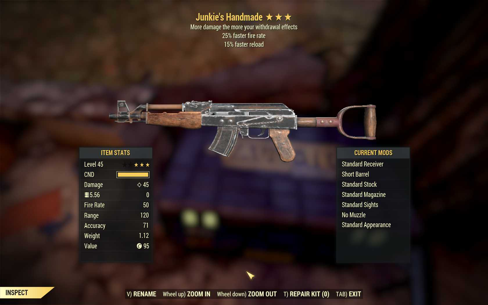 [3 Stars]Junkie's Handmade+25% faster fire rate+15% faster reload