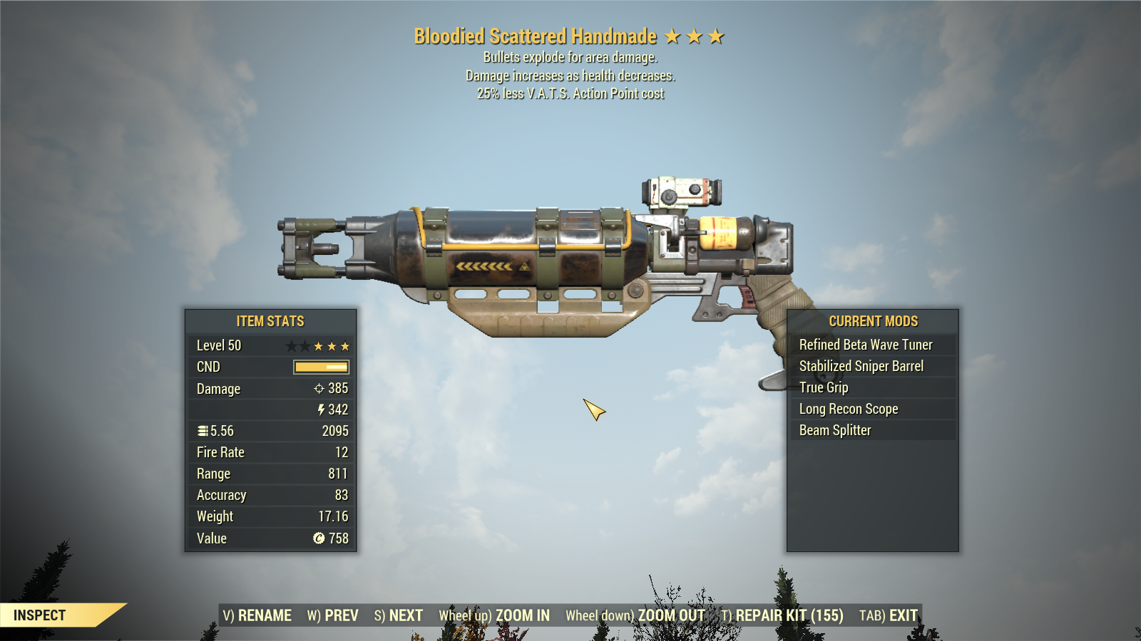 [Rare Glitched] Bloodied Explosive Handmade 25% Less VATS [800+ DAMAGE]