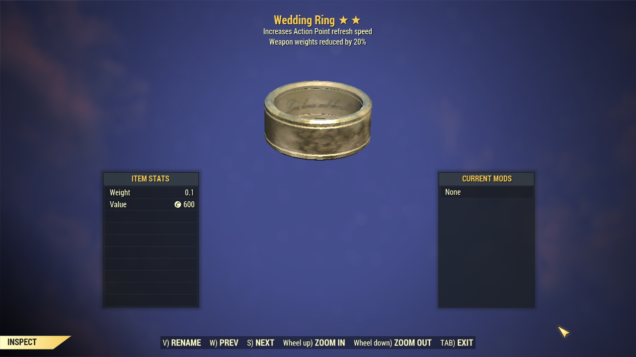 [Weapons -20%Weights+AP REFRESH] Wedding Ring
