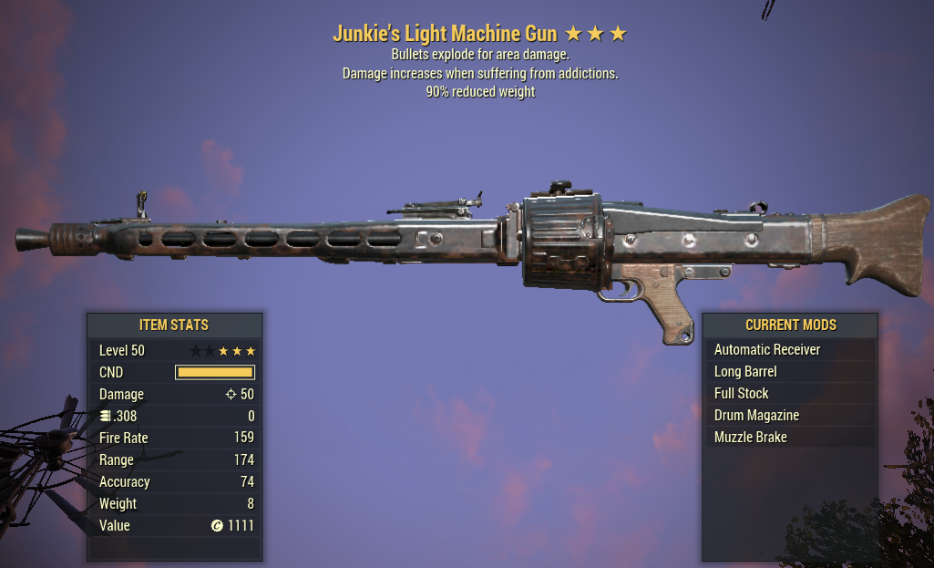 Junkie's Explosive Light Machine Gun 90% Reduced Weight