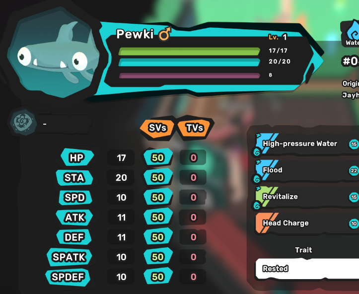 Pewki - Rested - All Egg Moves - Perfect SV 7/7 - Level 1 - Instant Delivery