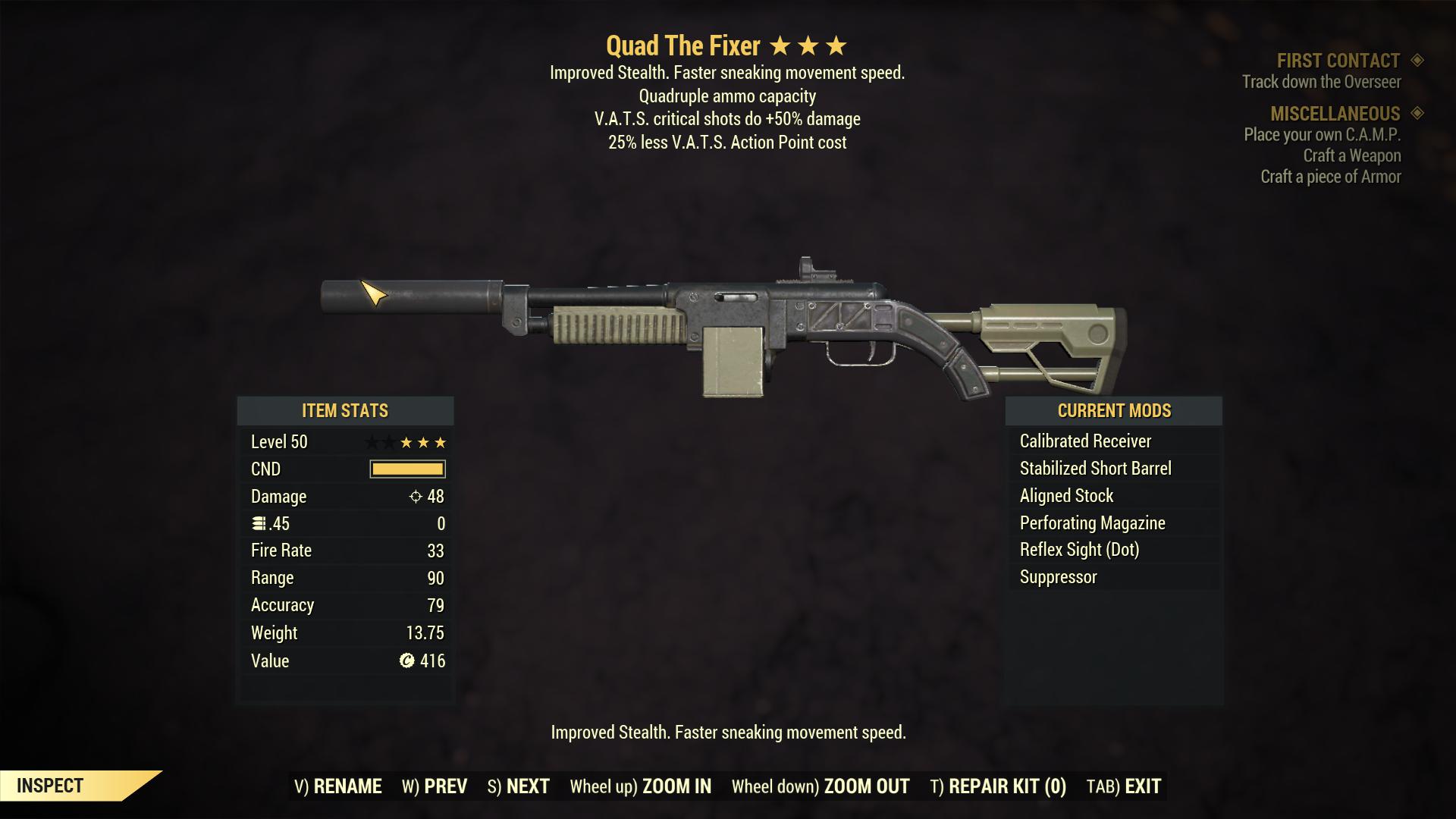 Quad The Fixer (50% critical damage, 25% Less VATS AP Cost)