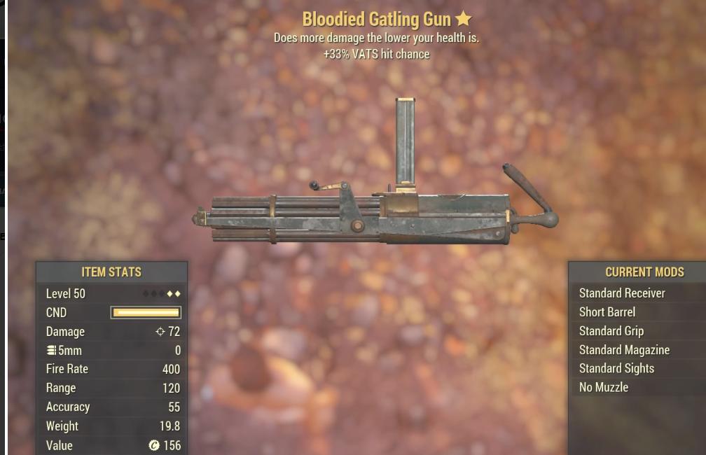 Bloodied Gatling Gun - Level 50