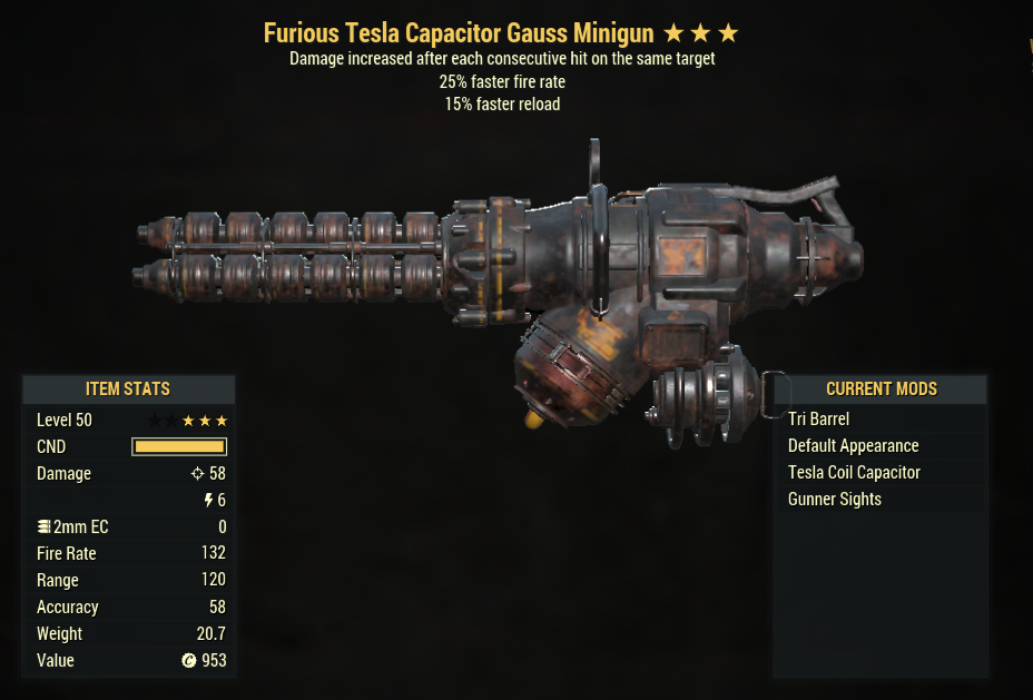 ⭐⭐⭐ [Prices are discussed] Furious Gauss Minigun (25% faster fire rate, 15% faster reload)