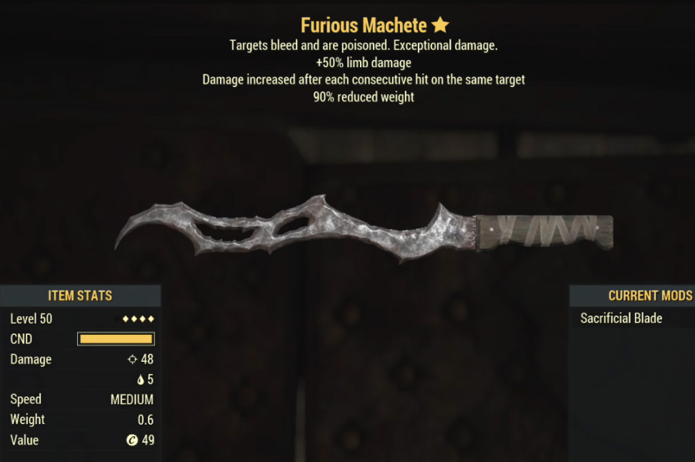 Furious Machete- Level 50