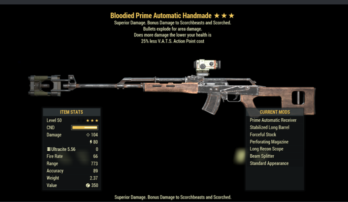 Bloodied Explosive Handmade | 25% Less V.A.T.S [1000-2000 DAMAGE - GLITCH WEAPONS]