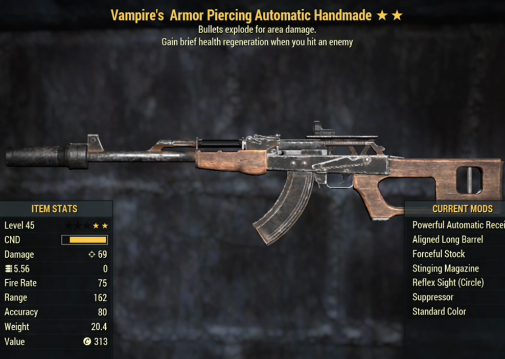 Vampire's Armor Piercing Automatic Handmade- Level 45