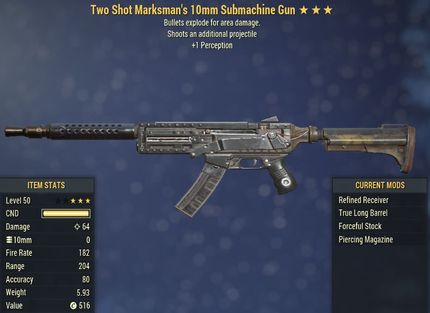 [PC] Two-Shot Explosive 10mm SMG [+1 PER]