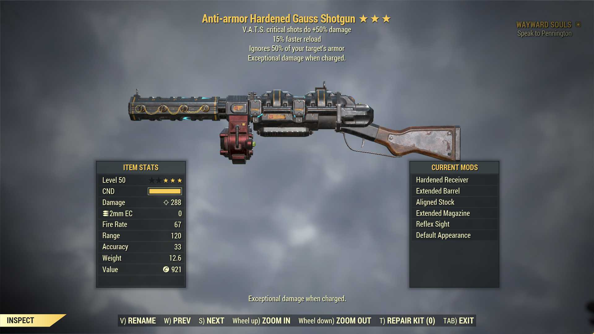 Anti-Armor Gauss Shotgun (+50% critical damage, 15% faster reload) FULL MODDED [Wastelanders]