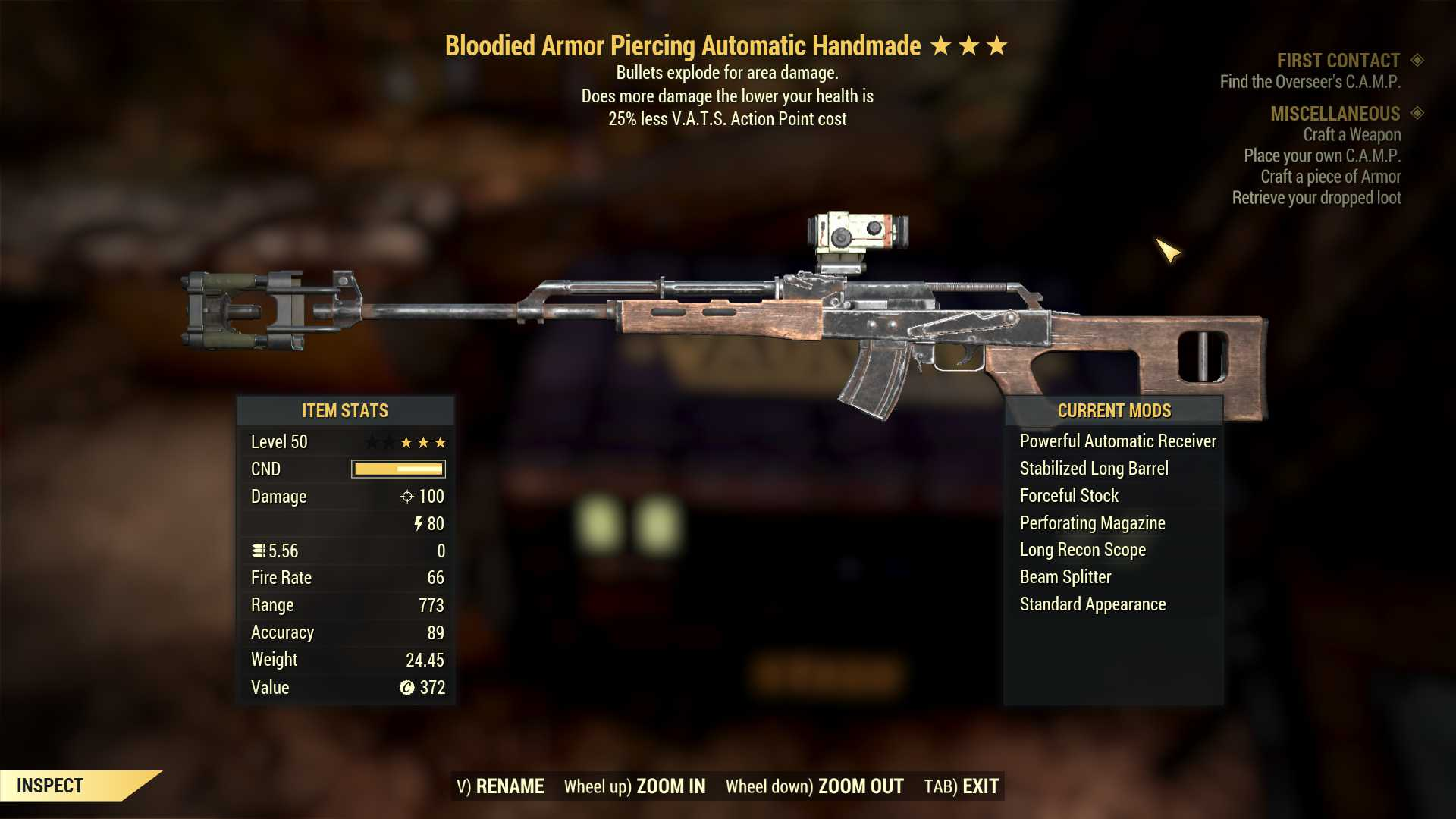 Bloodied Armor Piercing Automatic Handmade (3*/50lvl, Explosive, 25% less VATS AP cost)