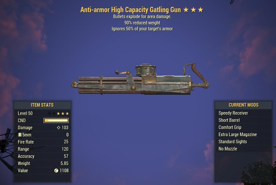 Anti-Armor Explosive Gatling Gun 90% Reduced Weight