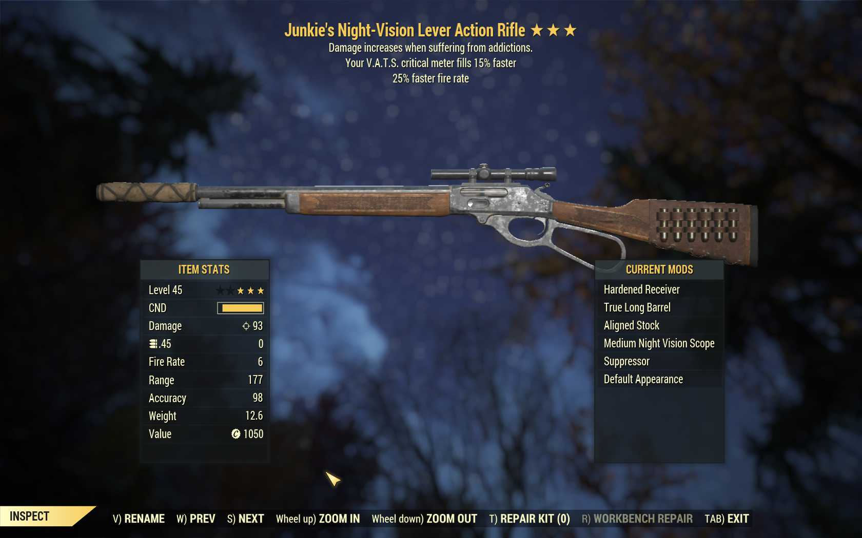 Junkie's Lever Action Rifle (25% faster fire rate, VATS crit fills 15% faster)