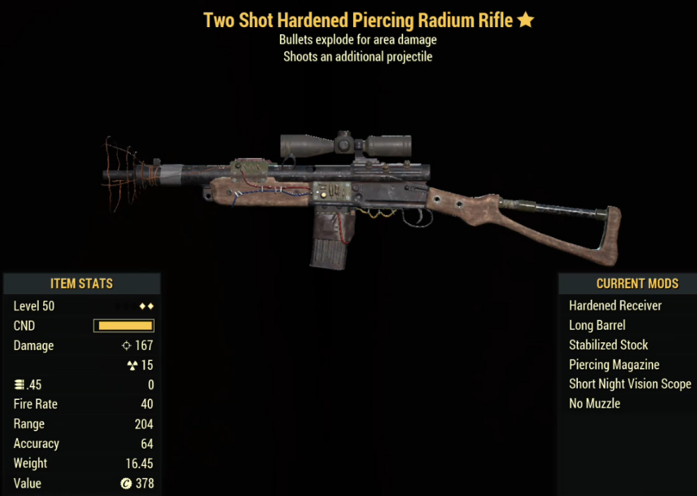 Two Shot Hardened Piercing Radium Rifle- Level 50
