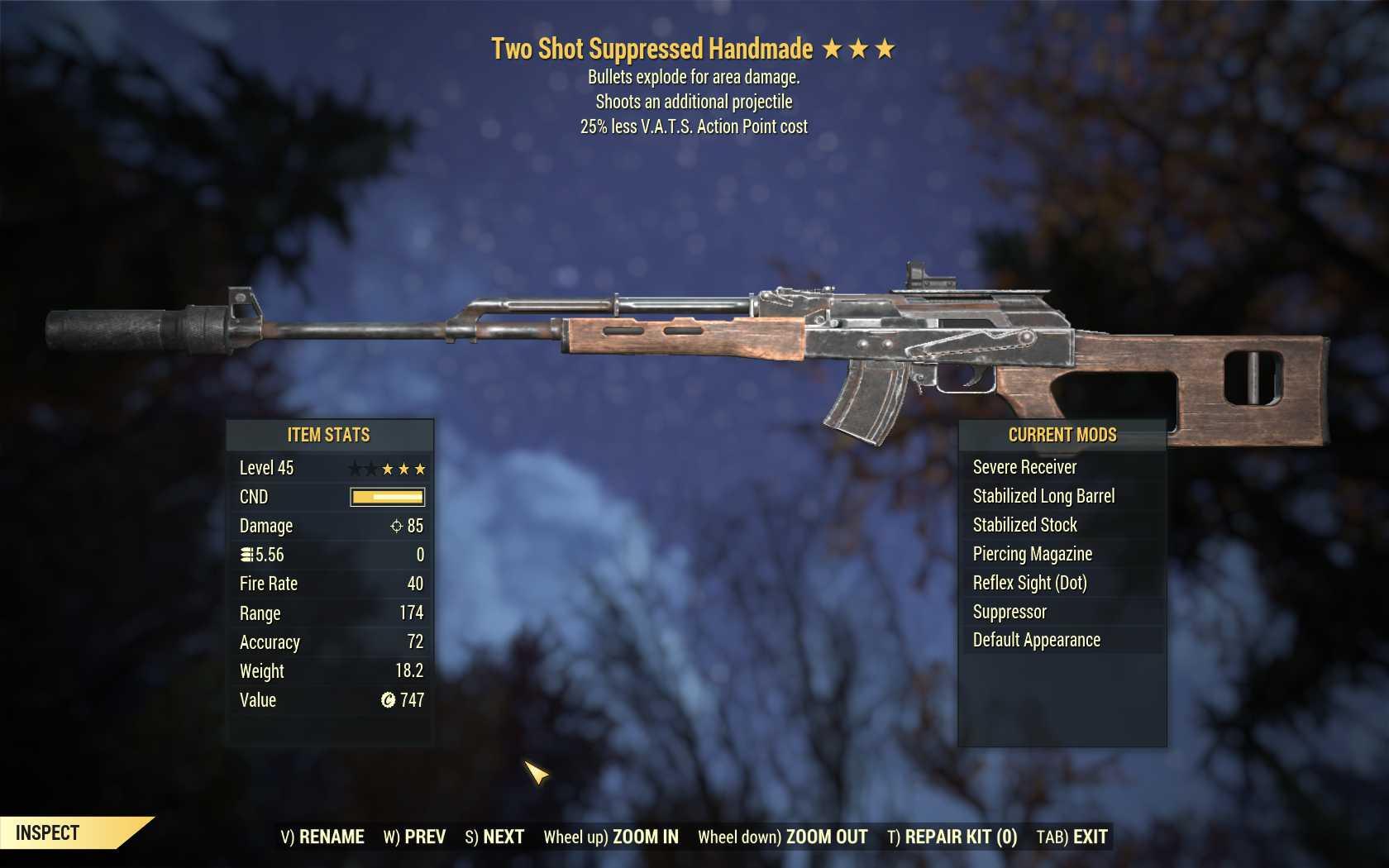 Two Shot Explosive Handmade (25% less VATS AP cost)