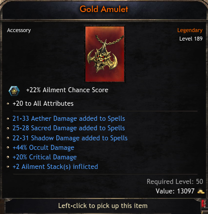 Mage Set Triple Spells Rolls Amulet, 44% Occult Damage, 20% Critical Chance, +2 Ailment Stacks