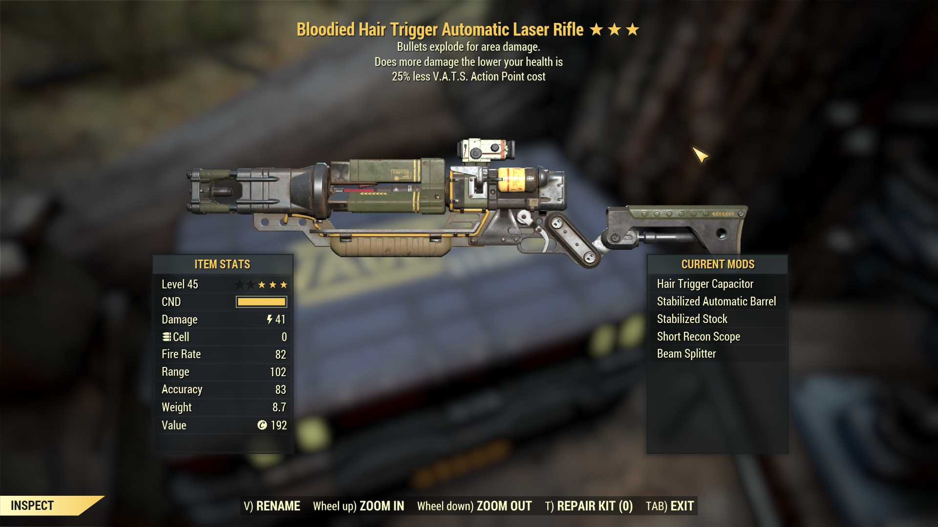 Bloodied Explosive Laser Rifle (25% less VATS AP cost)