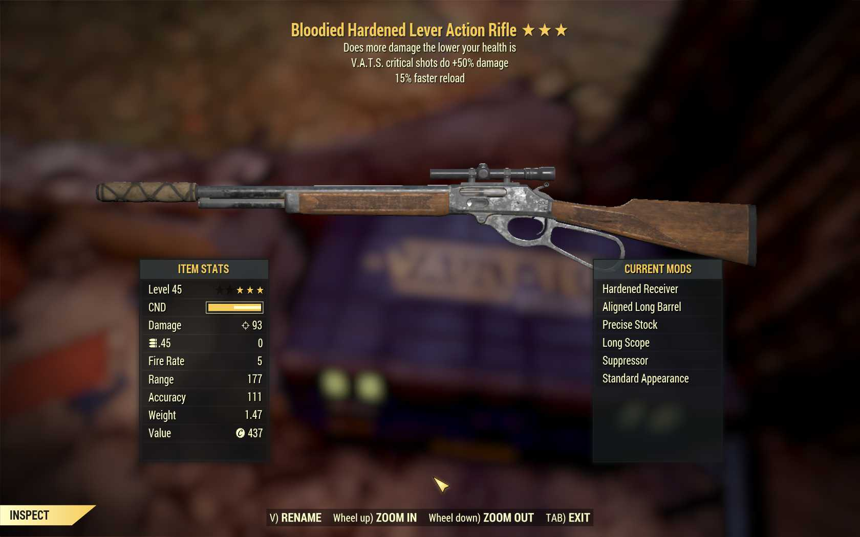 Bloodied Lever Action (50% critical damage, 15% faster reload)