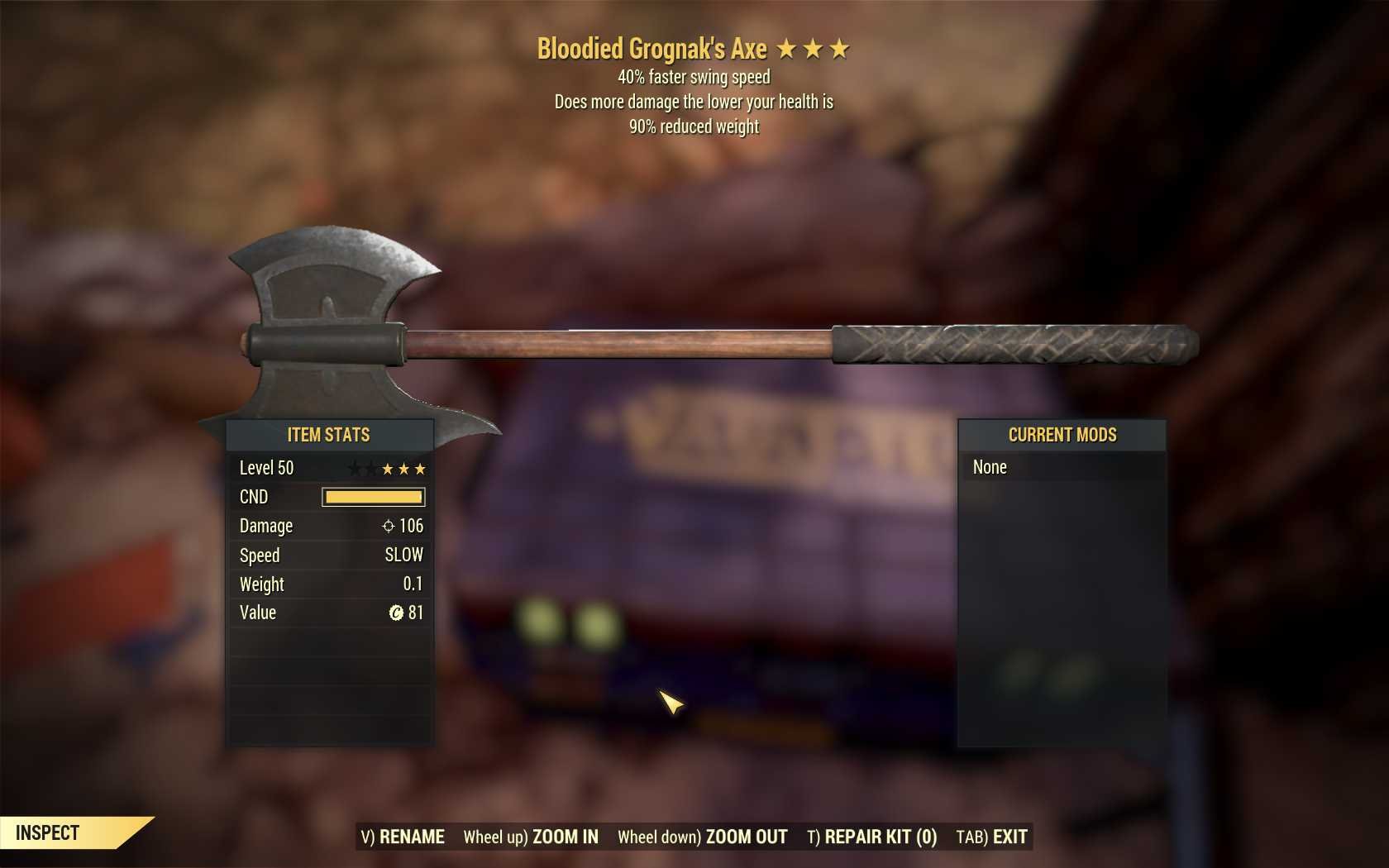 [3 Stars]Bloodied Grognak's Axe+40% Faster Swing Speed+90% reduced weight