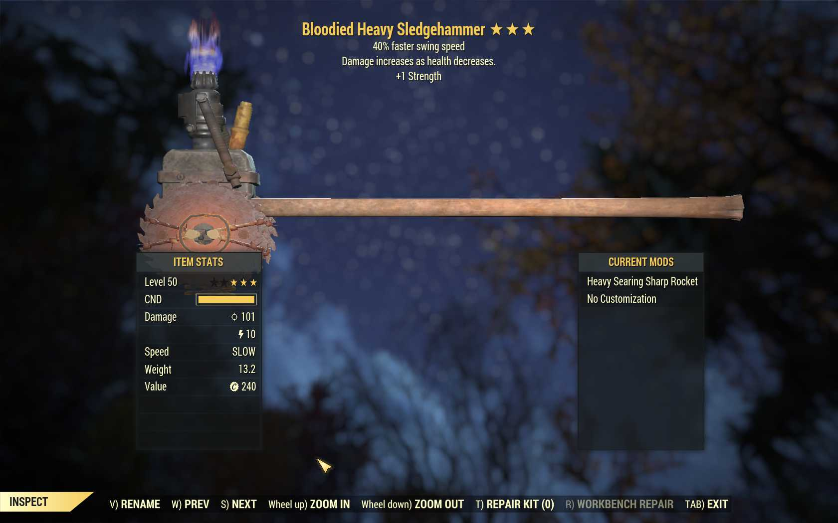 Bloodied Sledgehammer (40% Faster Swing Speed, +1 Strength)