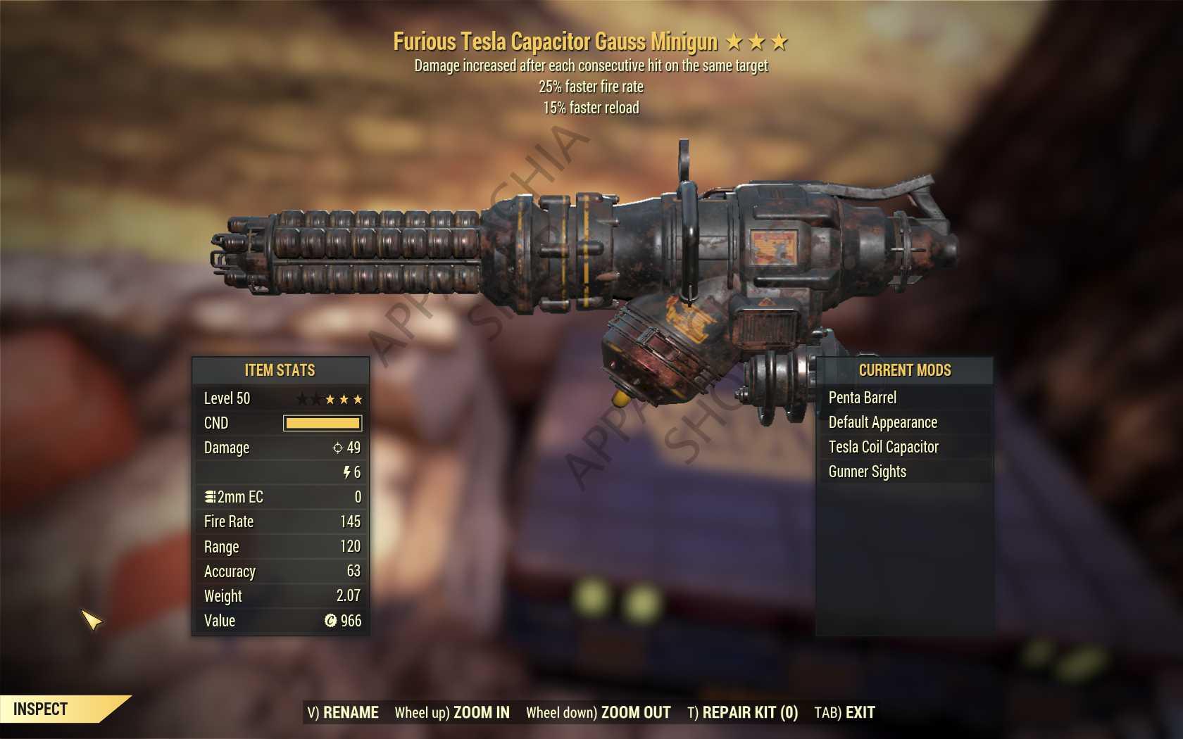 Furious Gauss Minigun (25% faster fire rate, 15% faster reload) FULL MODDED [Wastelanders]