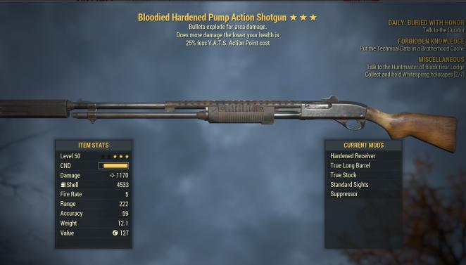 1000 DAMAGE Bloodied Explosive Pump Action Shotgun [25% Less] [Glitch weapon]