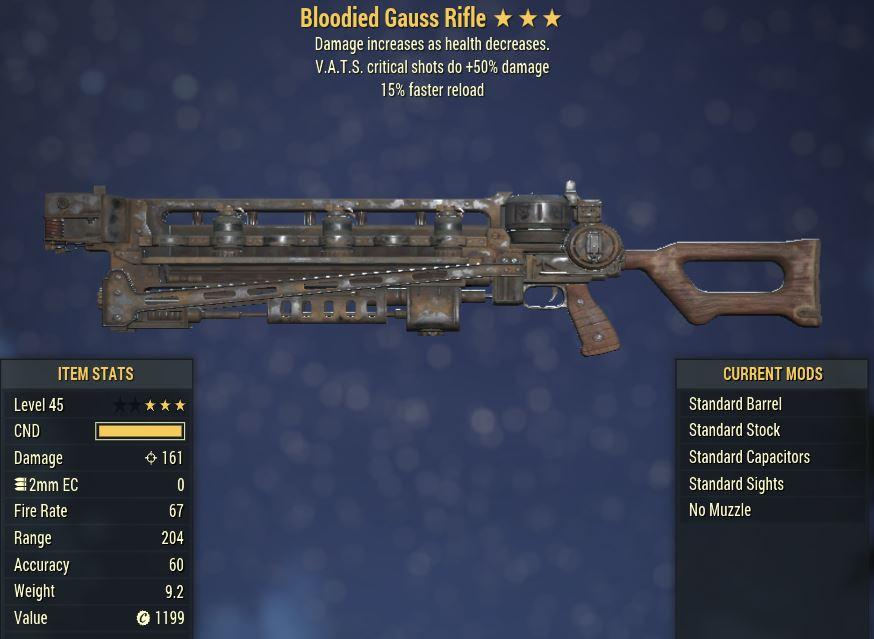 [PC] Bloodied Gauss Rifle [VATS crit shots do +50% DMG   15FR]