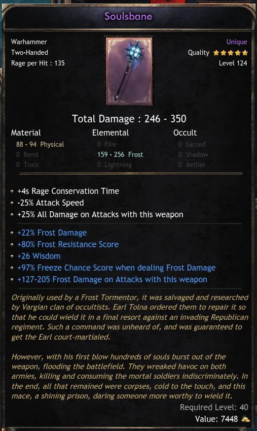 Unique 2H Hammer Soulsbane Frost damage