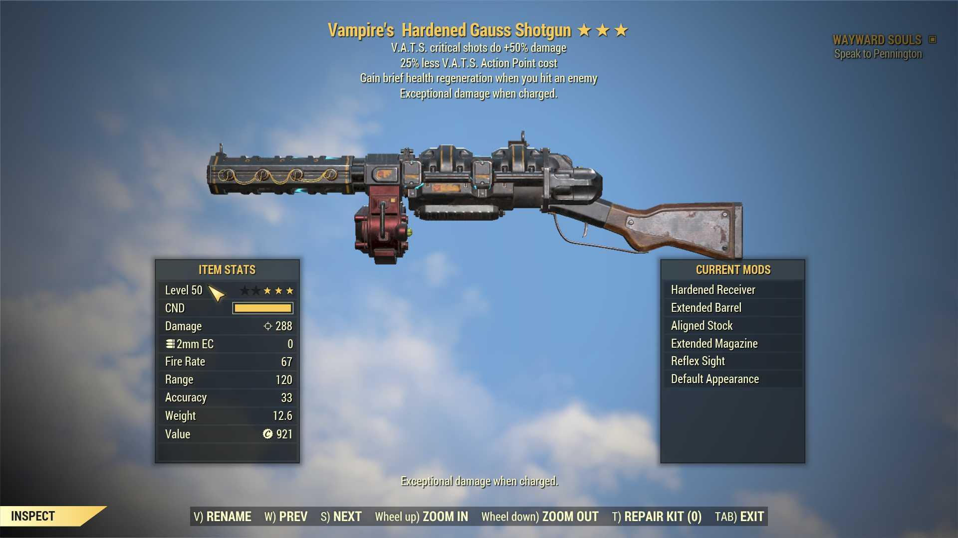 Vampire's Gauss Shotgun (+50% critical damage, 25% less VATS AP cost) FULL MODDED [Wastelanders]