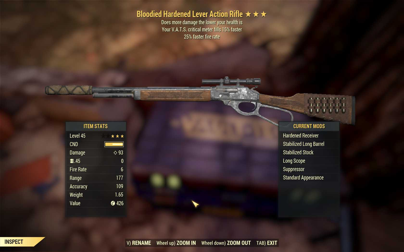Bloodied Lever Action (25% faster fire rate, VATS crit fills 15% faster)