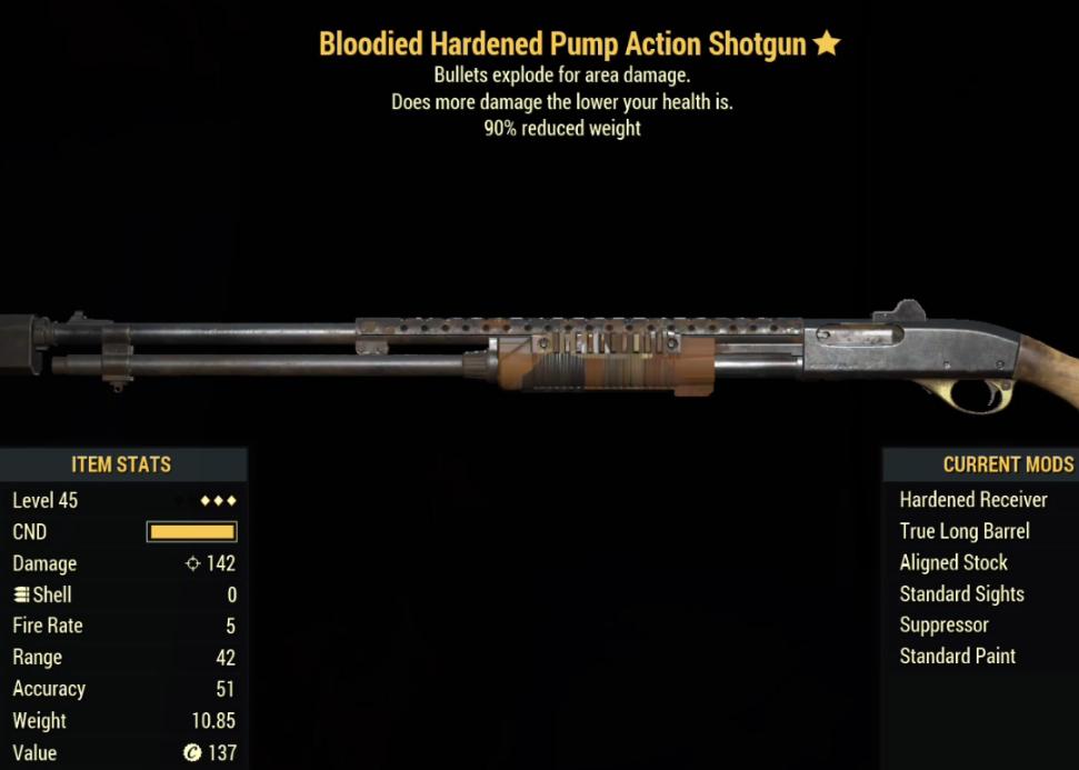 Bloodied Hardened Pump Action Shotgun- Level 45