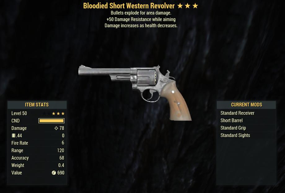 Bloodied Explosive Western Revolver + 50 Resist AIM