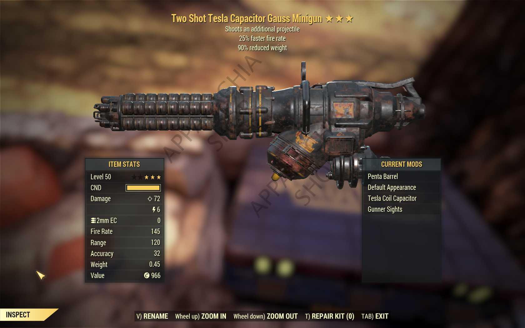 Two Shot Gauss Minigun (25% faster fire rate, 90% reduced weight) FULL MODDED [Wastelanders]
