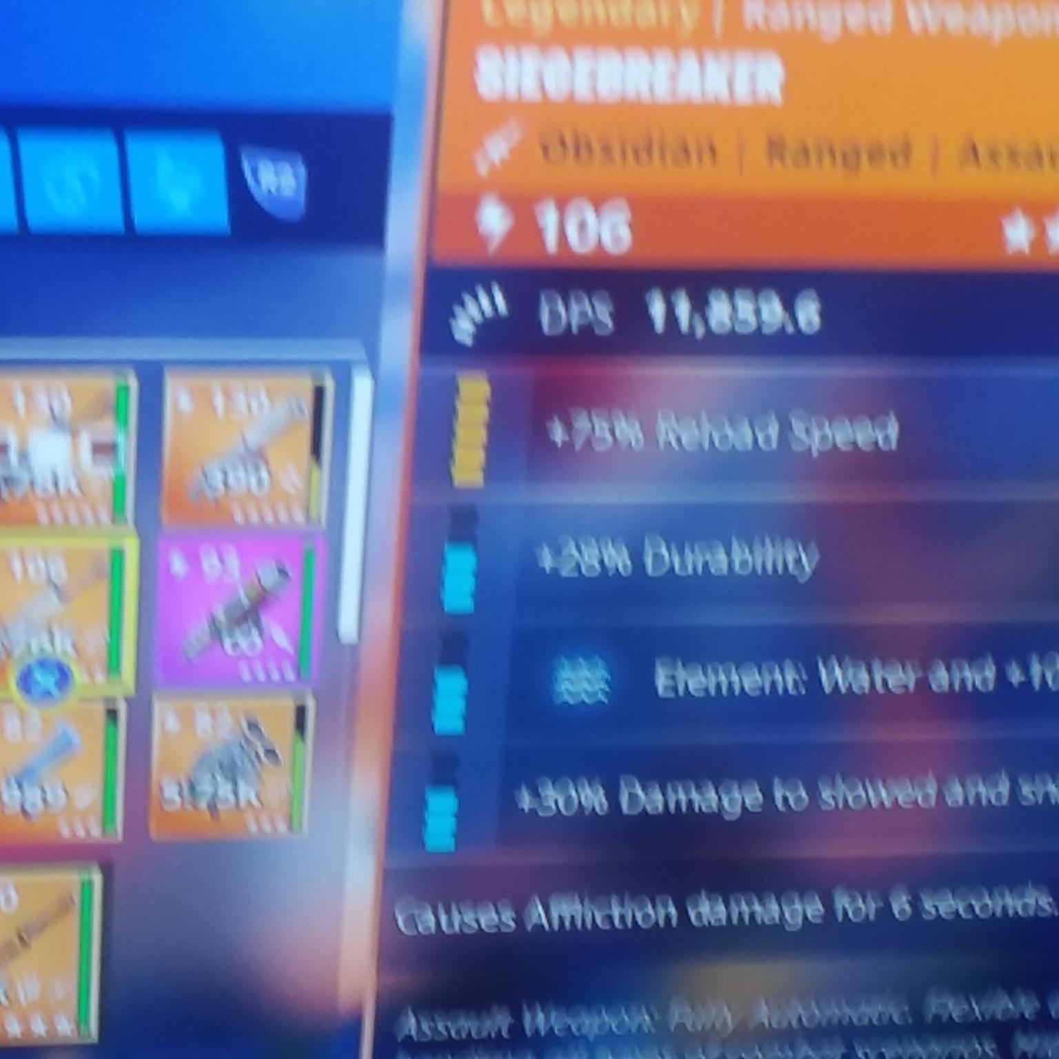 4 perk water 106 legendary siegebreaker