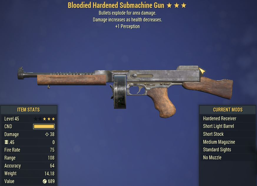 [PC] Bloodied Explosive SMG [+1 PER]