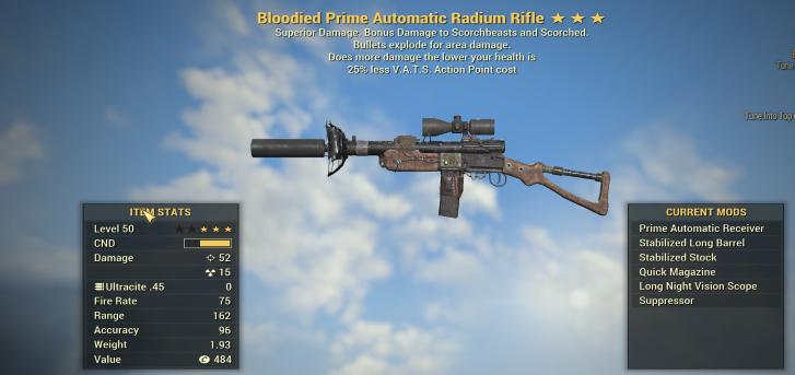 Bloodied Explosive Radium Rifle + 25% Less VATS