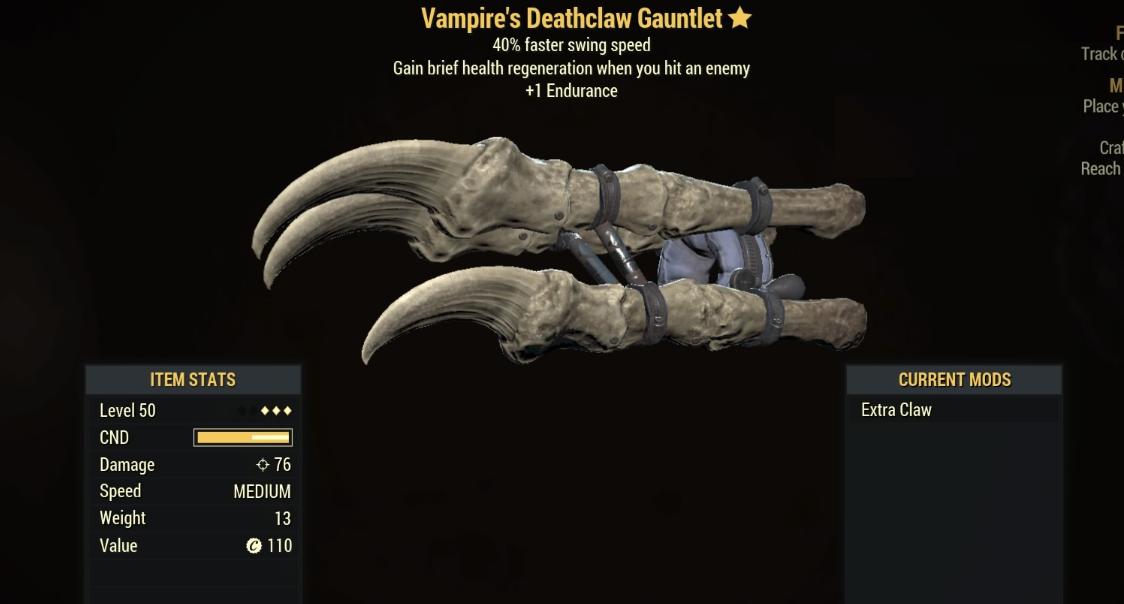 Vampire's Deathclaw Gauntlet- Level 50