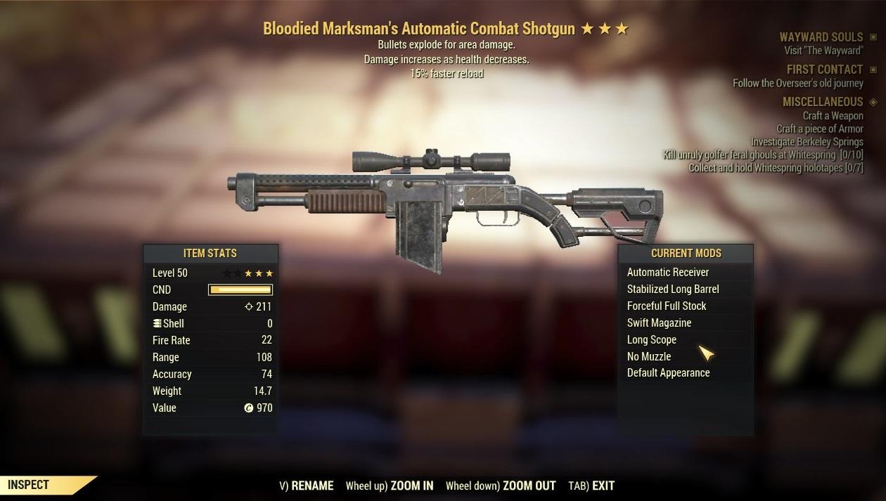 [Glitched weapon] Bloodied Explosive Combat Shotgun (15% faster reload) [2000 DMG]