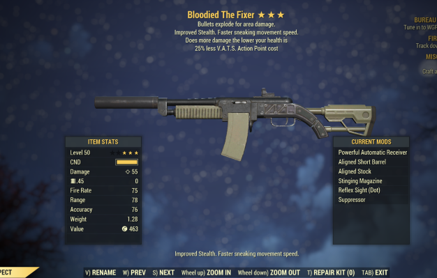 Bloodied Explosive The Fixer 25% Vats