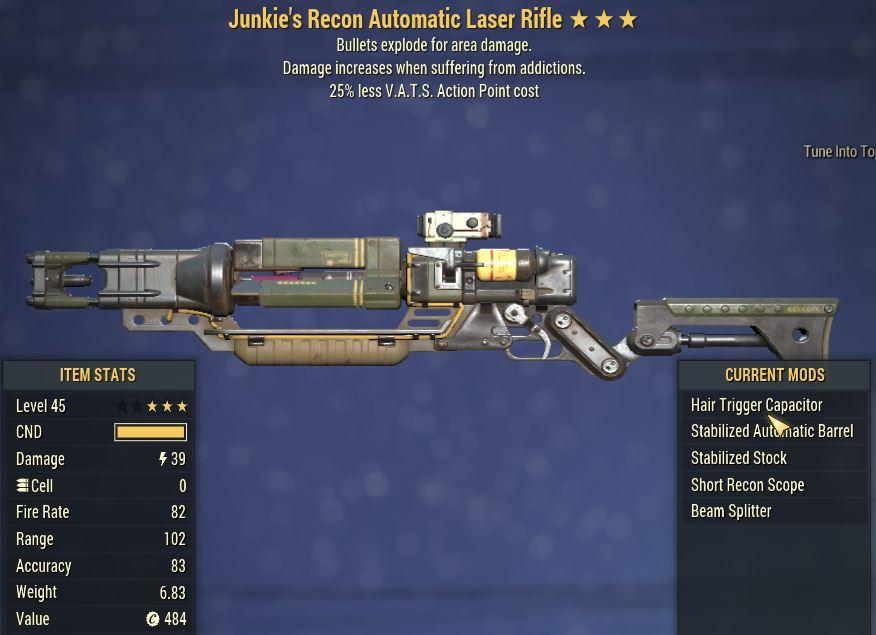 [PC] Junkie's Explosive Laser Rifle [25% Less Vats AP]