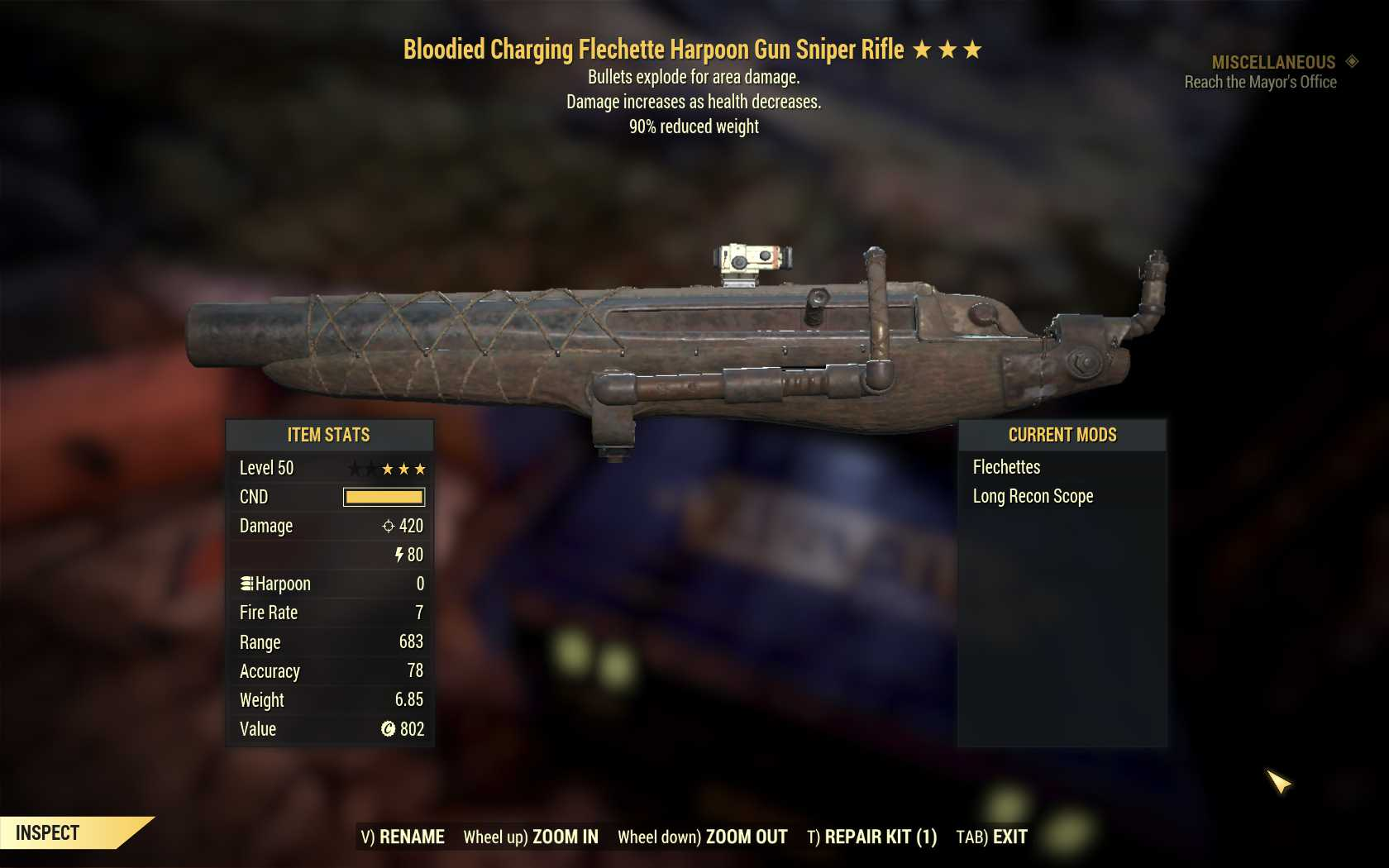 [Glitched weapon] Bloodied Explosive Harpoon Sniper Rifle (90% reduced weight)