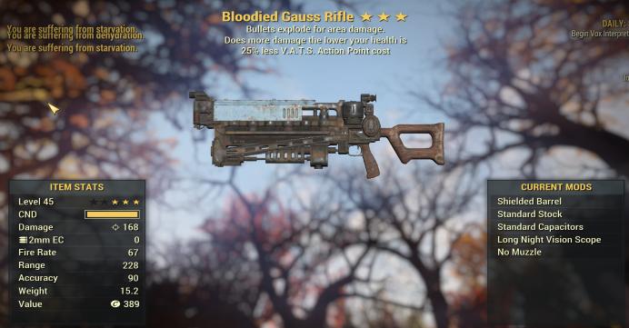 Bloodied Explosive Gauss Rifle  25% less VATS
