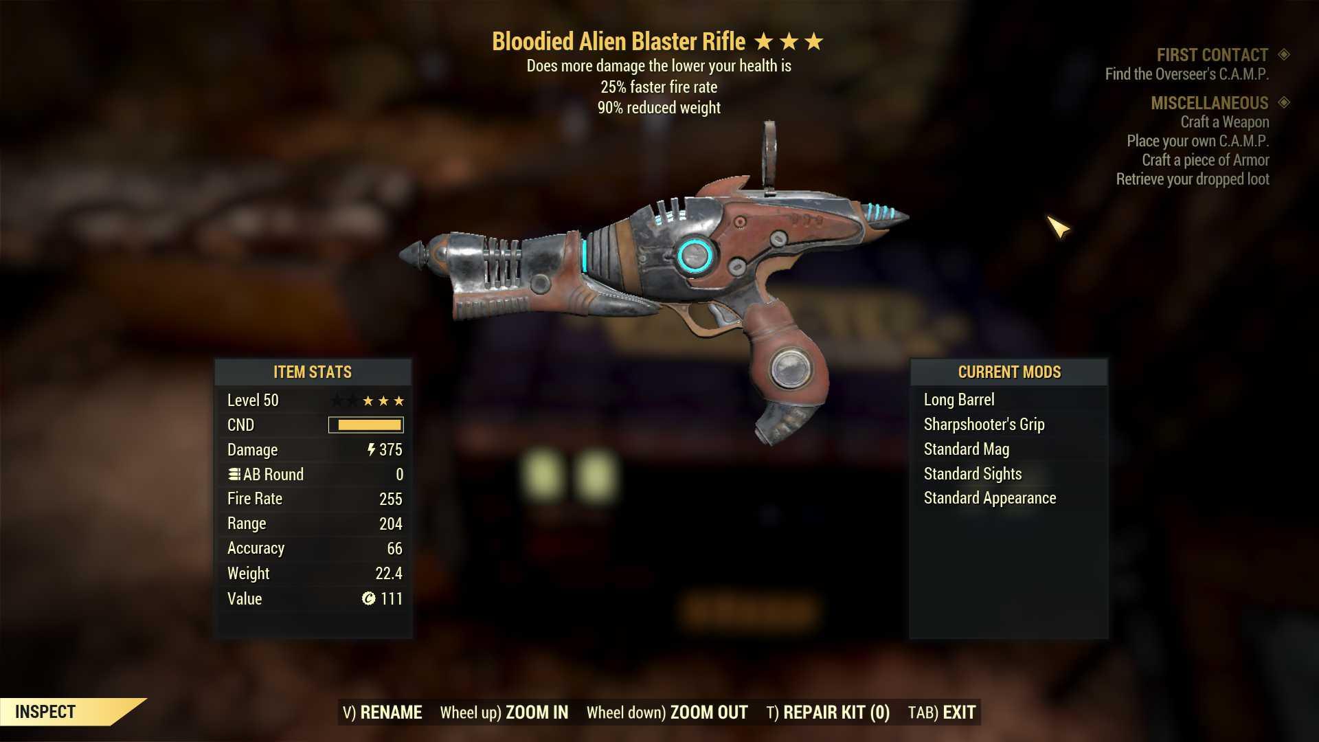 [Glitched weapon] Bloodied Alien Blaster Rifle (25% faster fire rate, 90% reduced weight)
